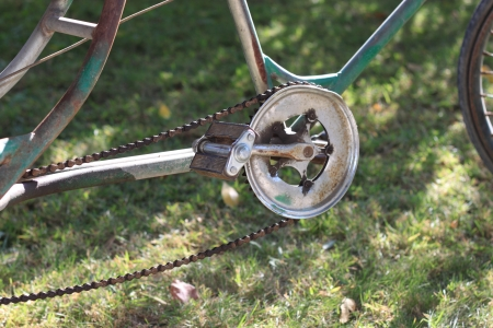 grassplot: A tricycle on the grassplot. Stock Photo