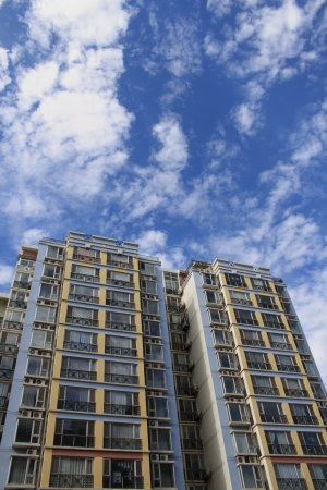 tenement: Buildings for residence with blue sky