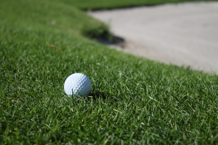 Golf ball on the sod Stock Photo