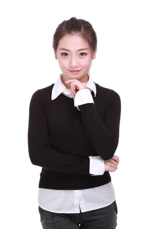 only one girl: A Beautiful girl Isolated On a White background