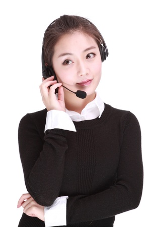 Businesswoman talking on headset photo