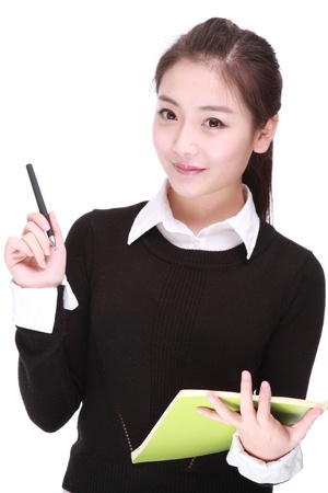 young businesswoman with pen Stock Photo - 17284072