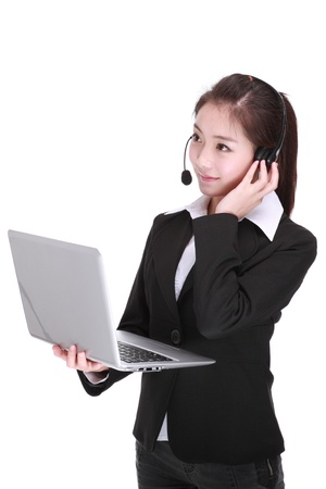 Businesswoman talking on headset Stock Photo