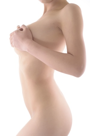 nipple breast: Sexy Girl isolate on white background Stock Photo