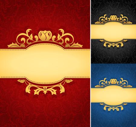 Elegant golden frame banner with ornate wallpaper background. A collection of royal aged damask parchment backgrounds.