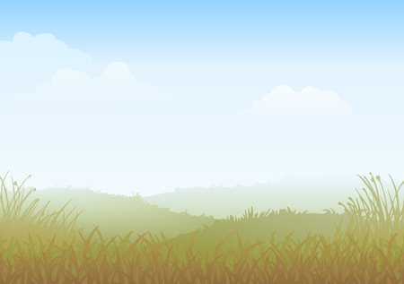 Misty Morning Vector. Countryside landscape, with fields of grass.