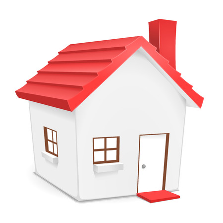 residential home: House with red roof. Cute illustration of home for residential, real-estate, housing concepts.