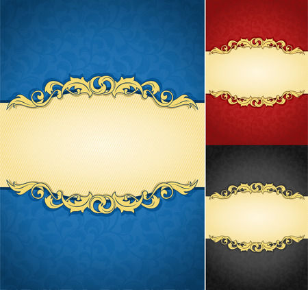 Luxurious golden frame banner with ornate wallpaper background Ilustracja