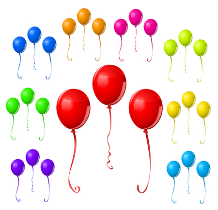 Colorful Balloon Set. Multicolor party balloons in colors of the rainbow. Comes in red, orange, yellow, green, cyan, blue, magenta, purple, pink, and violet.