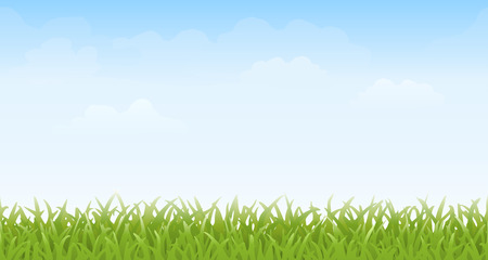 sky and grass: Grass and Sky ? Seamless. Grass and sky with faint clouds. This image tiles seamlessly horizontally. Illustration