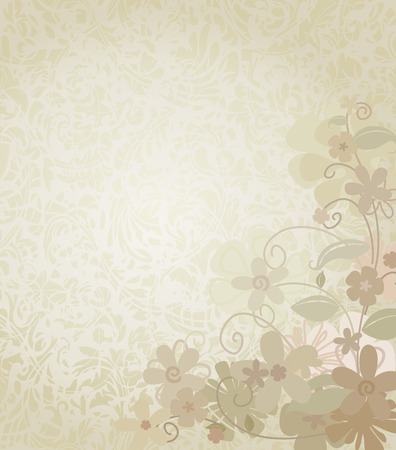 페이드: Vintage Background Framed with Corner Border Flowers. Floral border and backdrop. The flowers fade nicely into the background. The swirly pattern behind the flowers tiles seamlessly.