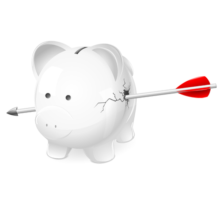 Broken piggy bank shot by arrow. A cute illustration of a white pig coin bank broken, shattered, and shot through by an arrow. For money problems, finance, recession, economic depression concepts.