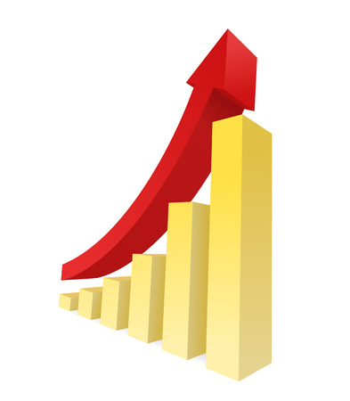 Bar graph showing an upward trend. Business growth and financial report graphic.
