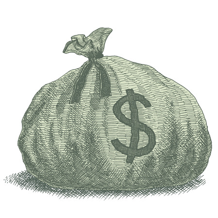 Money Bag Illustration. Old-style vintage drawing of a sack of money with dollar sign.