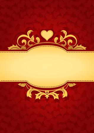 letras doradas: Fondo del amor Corazones Banner. Fondo rojo de San Valentín. Adecuado como invitación de la boda, tarjetas de felicitación, carta de amor, etiqueta romántica del regalo.
