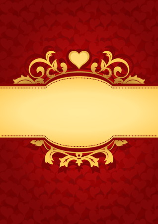 gold letters: Love Hearts Banner Background. Red valentines background. Suitable as wedding invitation, greeting card, love letter, romantic gift label.