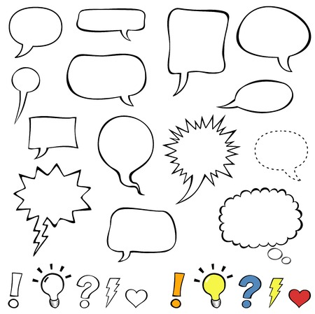 comics: Comics style speech bubbles. Collection set of cute speech balloon doodles plus some punctuation marks, symbols, and bubbles.