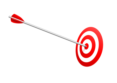 Bulls eye arrow.  Arrow on red target. Success and winning concept.