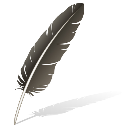 Realistic illustration of a feather quill pen