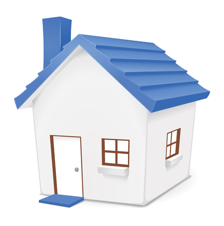 housing: Little Blue House. Cute illustration of blue home for residential, real-estate, housing concepts.