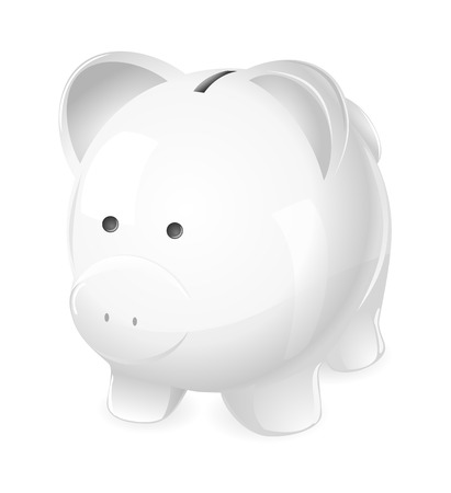 Piggy Bank. A cute white piggy coin bank.