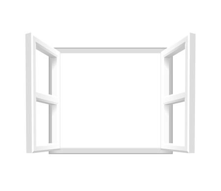 Plain White Open Window  Add your own image or text. Vector illustration of an open window. Vettoriali