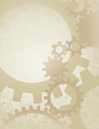 Steampunk Gears Achtergrond op perkament. Achtergrond vector illustratie van mooi vervaagde toestellen op oud papier.