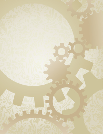 Steampunk Gears Background on Parchment. Background vector illustration of nicely faded gears on old paper.