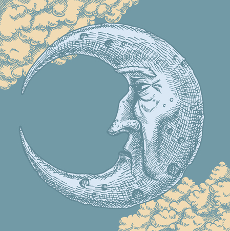 Crescent Moon Face Vintage Drawing. A vector freehand ink drawing of the man in the moon in vintage style. With clouds in the background of a moonlit sky. Crescent shaped face shows texture and craters using cross-hatch technique. Illustration