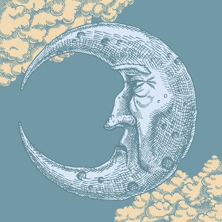 Crescent Moon Visage dessin vintage. Un vecteur à main levée dessin à l'encre de l'homme dans la lune dans le style vintage. Avec des nuages ??dans le fond d'un ciel clair de lune. Croissant visage en forme de montre texture et cratères en utilisant la technique de hachures croisées. Vecteurs