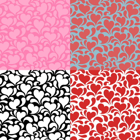 Hearts Background Set. A set of seamless pink and red valentines backgrounds. Ilustracja