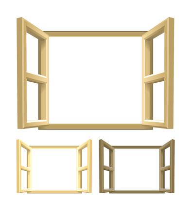 open windows: Abra Madera de Windows. Un conjunto de ventanas de madera de color marrón. Versiones ligeras y más oscuras incluidos. Ilustración del vector.