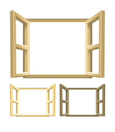 finestra: Aprire Legno di Windows. Una serie di finestre in legno marrone. Versioni chiare e più scure inclusi. Illustrazione vettoriale.