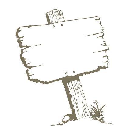 letreros: En blanco Cartel de madera Junta. Un dibujo de un viejo letrero en tablón de madera. Puede ser una señal de tráfico, cartelera, o poste de señalización.