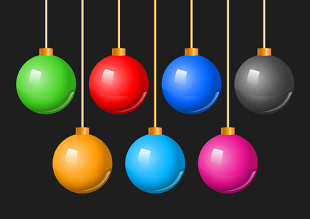 knickknack: Colorful Christmas Balls Bauble Set. A vector illustration of a collection of colorful hanging Christmas holiday baubles or decorations.