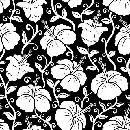 ハワイアン プリントです。シームレスなハイビスカスの花背景パターン。ハイビスカスの花のイラスト。背景や壁紙のパターンとして働きます。タ  イラスト・ベクター素材