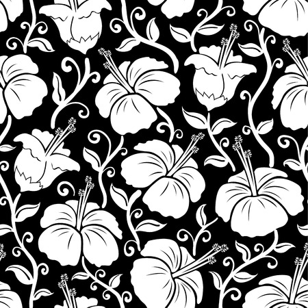 Hawaiian print. Seamless hibiscus flower background pattern. Illustration of hibiscus flowers. Works great as a background or wallpaper pattern. Tiles seamlessly.