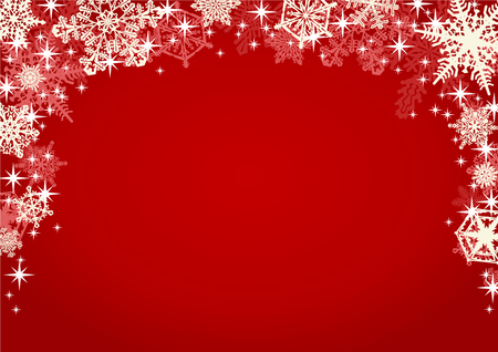 Snowflakes and Sparkling Glitters in Red Background. Christmas winter background framed with many different ornate and intricate falling snowflakes.