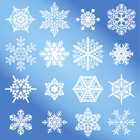 Vector Snowflake Set. An illustration collection of different winter snowflakes. For Christmas and holiday designs. Ilustracja