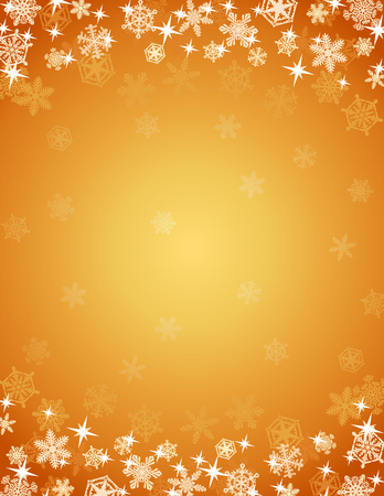 Golden Christmas Background. Christmas winter background framed with snowflakes and sparkles. Illustration