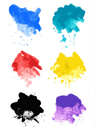 Rainbow splash watercolor paint splatters. A set of colorful textured painting blobs, made with brush strokes. Illustration