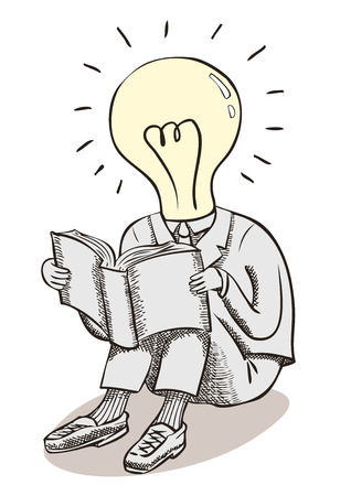 Light bulb moment man. Brain power and great ideas. A conceptual line drawing with crosshatch shading of a man in a suit, with a lightbulb head reading a book. Illustration