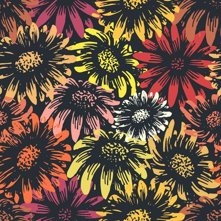 motif floral: Daisy Vintage et de tournesol imprimé de fleurs. Printemps style rétro gerbera motif textile floral. Tuiles de façon transparente. Changez les couleurs facilement! Illustration