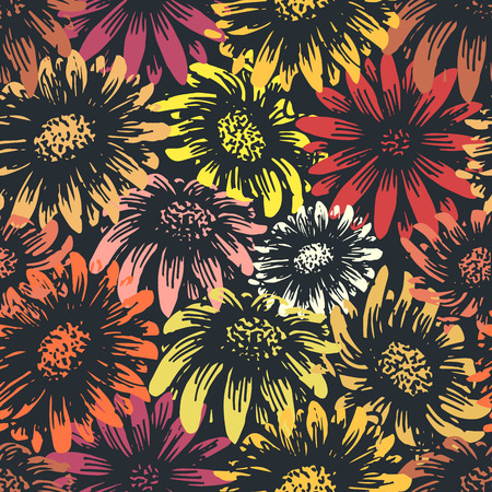 orange gerbera: Vintage daisy and sunflower flower print. Retro style spring gerbera floral textile pattern. Tiles seamlessly. Change colors easily!