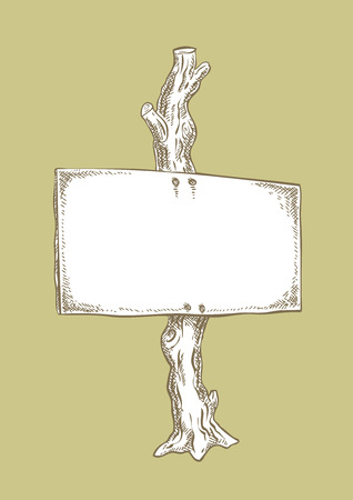 Ink drawing, signboard on tree. Drawing of a wooden sign or signpost nailed to a wooden post. Traditional look. Ilustracja