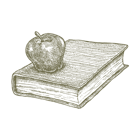 Apple on book drawing, school concept. Ink illustration of an apple on a book. Symbol for education and knowledge.