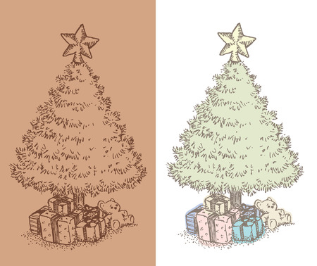underneath: Hand drawn vintage Christmas tree drawing. Vintage style ink illustration of Christmas tree with gifts underneath.