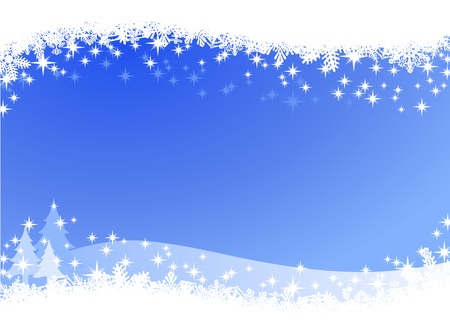 Christmas winter sky lights background. Sparkling Christmas card banner with pine trees and many different snowflakes on the border. Illustration