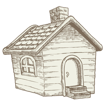 Cabin in the woods: quaint wooden country house. Vintage illustration of a small, simple cottage done in an old-school woodcut style. Reminiscent of traditional farmhouses. Ilustracja