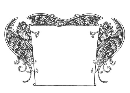 エンジェル バナー、ビンテージ スタイル。昔ながらのバナーを押しながらトランペットを吹く天使の図面。木版画か刻まれた時代の芸術のスタイル